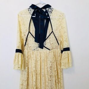Free People Gilded Lace Yellow Dress with Neck Tie